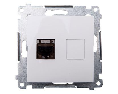 Simon 54 Gniazdo komputerowe pojedyncze RJ45 kat.6 ekranowane z przesłoną białe D61E.01/11