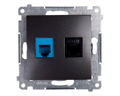 Simon 54 Gniazdo teleinformatyczne RJ45 kat.5e + RJ12 antracyt D5T.01/48