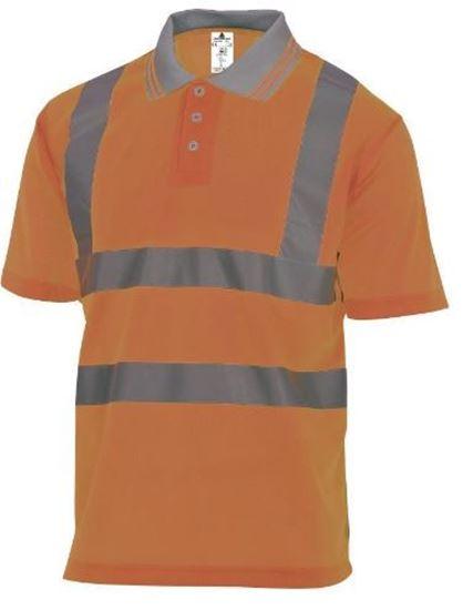 Polo ostrzegawcze z krótkimi rękawami z poliestru kołnierz zapinany na guziki 160 g/m2  pomarańczowy fluo rozmiar XL OFFSHORXG