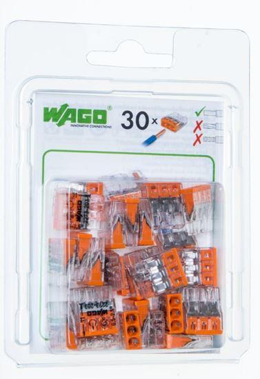 Szybkozłączka 3x 0,5-2,5mm2 transparentna/pomarańczowa 2273-203 /blister 30szt/ 2273-203/0996-0030/VE00-0100