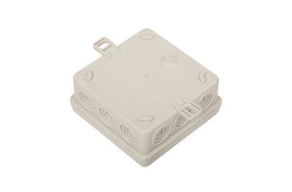 Puszka n/t hermetyczna pusta 85x85x38mm IP54 z dławicą zintegrowaną szara N6 samogasnąca bezhalogenowa 83006002