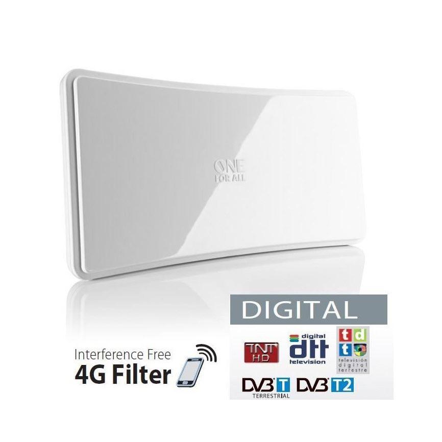 Antena TV UHF/VHF, 4G-LTE, 3G-GSM aktywna 42dB wewnętrzna biała SV9421
