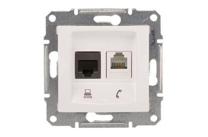 Sedna Gniazdo teleinformatyczne RJ11 RJ45 kat.5e UTP białe SDN5100121