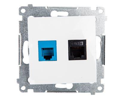 Simon 54 Gniazdo teleinformatyczne RJ45 kat.5e + RJ12 białe D5T.01/11