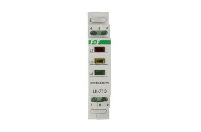 Lampka modułowa 3-fazowa żółta/czerwona/zielona 3x230V+N LK-713K