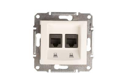 Sedna Gniazdo komputerowe podwójne RJ45 kat.5e UTP kremowe SDN4400123