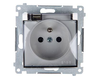 Simon 54 Gniazdo bryzgoszczelne z/u IP44 z klapką transparentną białe DGZ1BUZ.01/11A