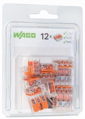 Szybkozłączka 3x0,2-4mm2 transparentna / pomarańczowa 221-413 /blister 12szt/ 0221-0413/0996-0012