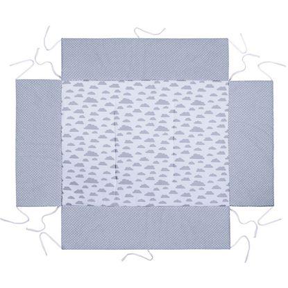 MATA DO KOJCA 100x100 cm Lulando Szary w groszki białe + biały w szare chmurki