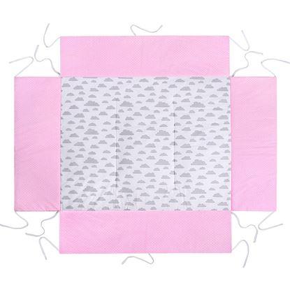 MATA DO KOJCA 75x100 cm Lulando Różowy w groszki białe+Biały w szare chmurki