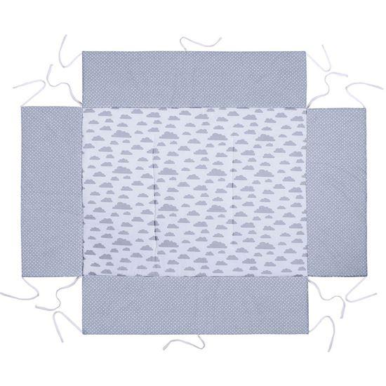 MATA DO KOJCA 75x100 cm Lulando Szary w białe gwiazdki+Biały w szare chmurki