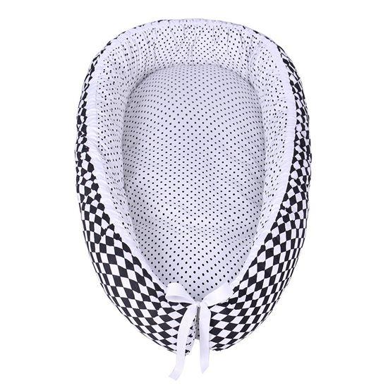 KOKON DLA DZIECKA 80x45cm Biały w czarne groszki+Romby czarno-białe