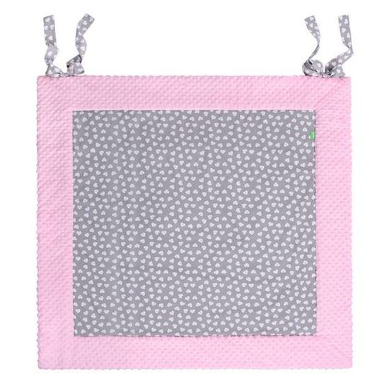PLAY-MAT 120x120 cm Lulando Mata Do Zabawy Szary w białe serca+Różowy