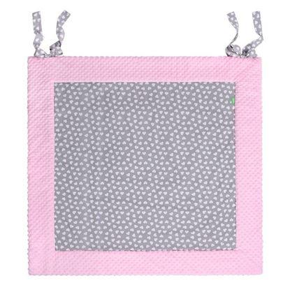 PLAY-MAT 150x150 cm Lulando Mata Do Zabawy Szary w białe serca+Różowy