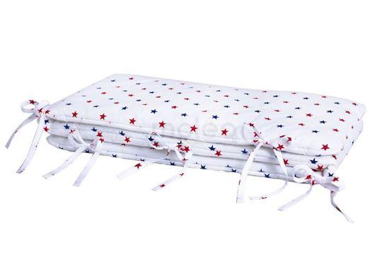 Lulando Ochraniacz, Gwiazdki Niebiesko-Czerwone / Białe Tło, 30x190 na łóżeczko 140x70