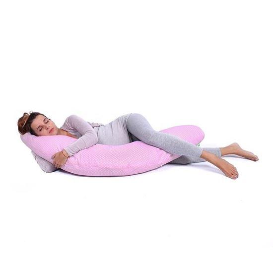 Lulando Bomerang poduszka do karmienia i spania, Różowy w białe groszki, 200x39 cm