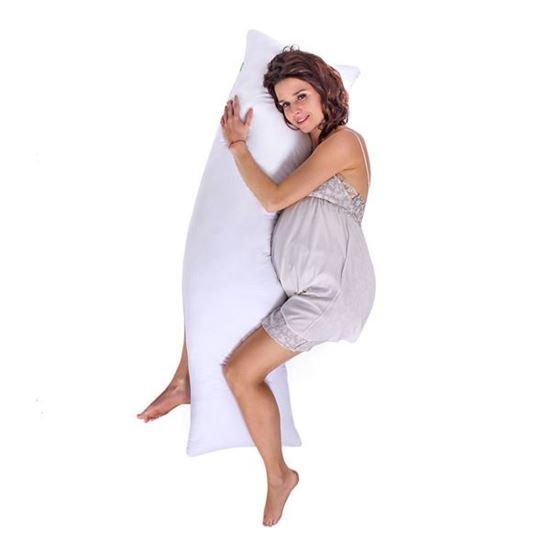 Lulando Poduszka do spania na boku biała mikrofikbra, 120x40 cm