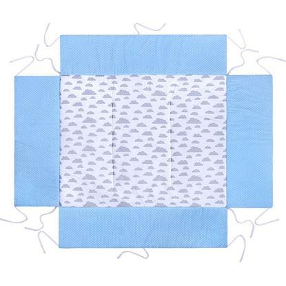 Lulando Mata do kojca, niebieski w białe groszki / biały w szare chmurki, 75x100 cm
