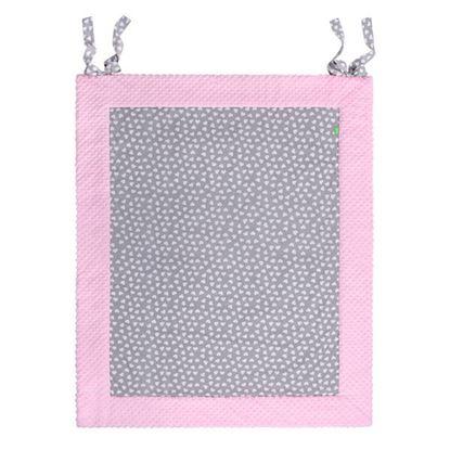 Lulando PLAY-MAT wodoodporna mata do zabawy, Białe serca na szarym tle / różowy, 150x200 cm