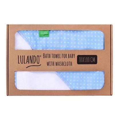 LULANDO Ręcznik kąpielowy frotte z kapturem dla niemowląt (80 x 100 cm) z myjką kąpielową, Biały / Niebieski w Białe Kropki