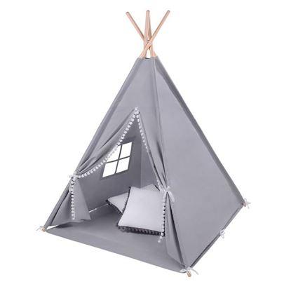 LULANDO TIPI namiot do zabawy dla dzieci, Szary pompony