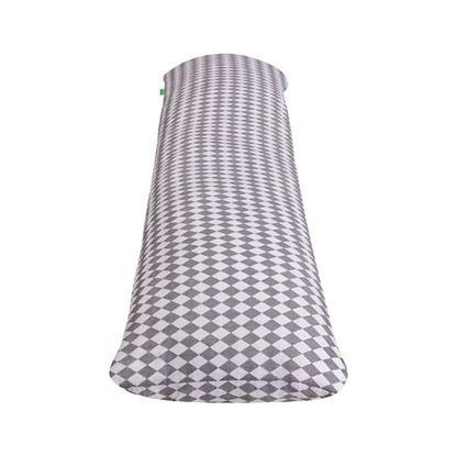 Lulando Poduszka do spania na boku, bawełna, biało-szare romby, 120x40 cm