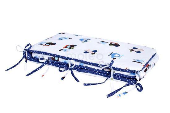 Lulando Ochraniacz, Samolot / białe kropki na niebiesko, 30x190 na łóżeczko 140x70