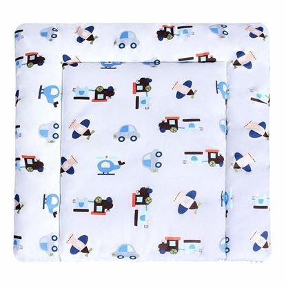 Lulando przewijak bawełniany,  Samoloty / białe kropki na niebiesko, 75x75 cm