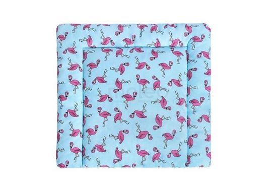 Lulando przewijak bawełniany flamingi niebieskie, 75x75 cm