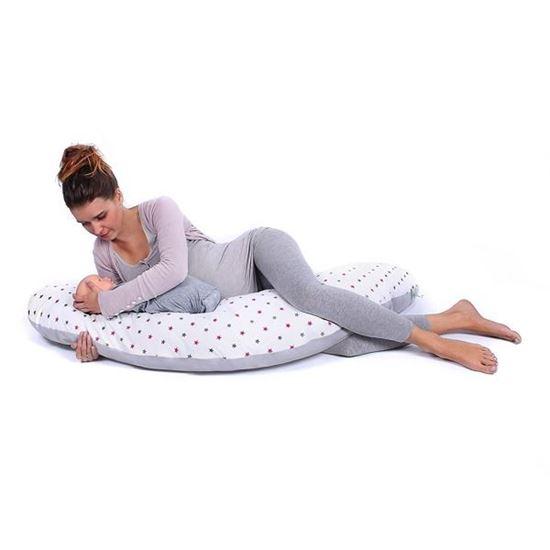 Lulando Bomerang poduszka do karmienia i spania, Szare i różowe gwiazdki na białym tle / szary,  200x39 cm