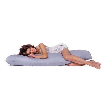 Lulando Poduszka do spania na boku, bawełna, szara, 145x40 cm