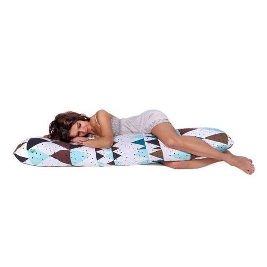 Lulando Poduszka do spania na boku,  bawełna, trójkąty zielono-niebieskie,145x40 cm