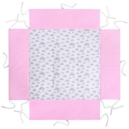 Lulando Mata do kojca, Różowy w groszki białe / biały w szare chmurki ,100x100 cm