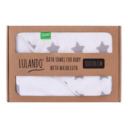 LULANDO Ręcznik kąpielowy frotte z kapturem dla niemowląt (80 x 100 cm) z myjką kąpielową, Biały / Biały w Szare Gwiazdki