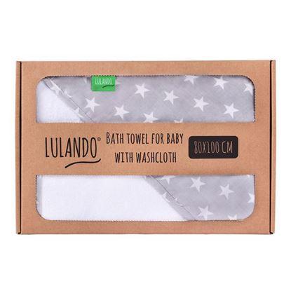 LULANDO Ręcznik kąpielowy frotte z kapturem dla niemowląt (80 x 100 cm) z myjką kąpielową, Biały / Szary w Białe Gwiazdki