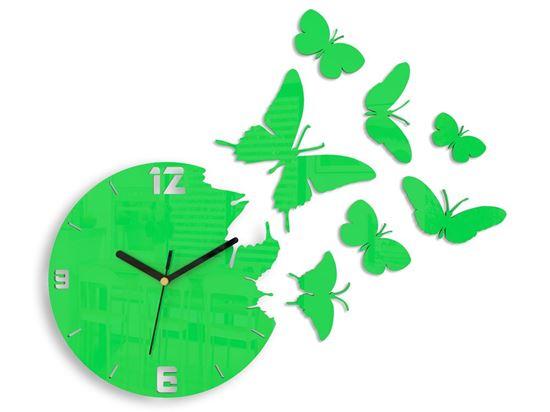 Zegar ścienny Motyl zielony