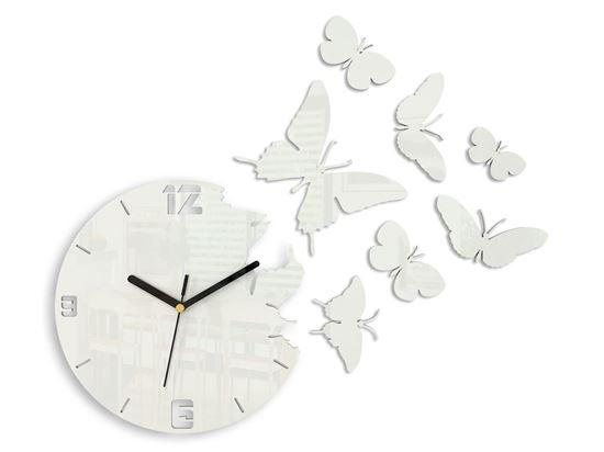 Zegar ścienny Motyl biały
