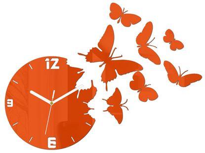 Zegar ścienny Motyle Pomarańcz
