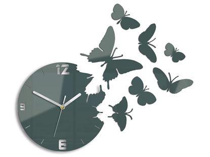 Zegar ścienny Motyle szary
