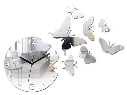 Zegar ścienny Motyle Lustro
