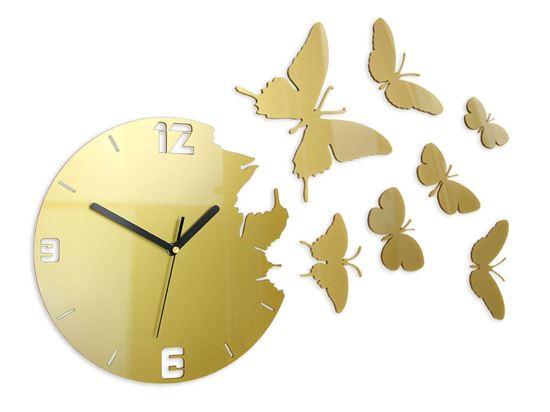 Zegar ścienny Motyle Gold