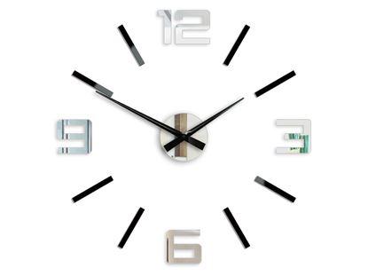 Zegar Silver czarno -  lustrzany