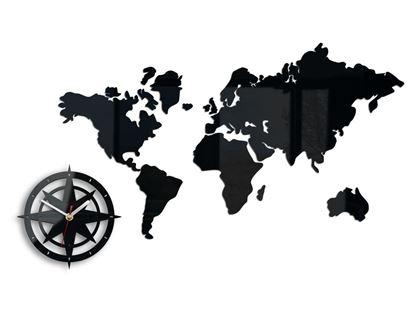 Zegar ścienny Mapa świata ver.2 Czarna