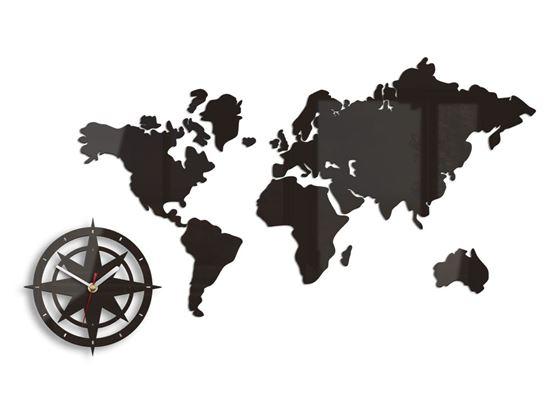 Zegar ścienny Mapa świata ver.2 Wenge