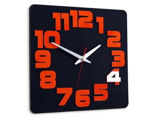 Zegar ścienny Czarno&Pomarańczowy
