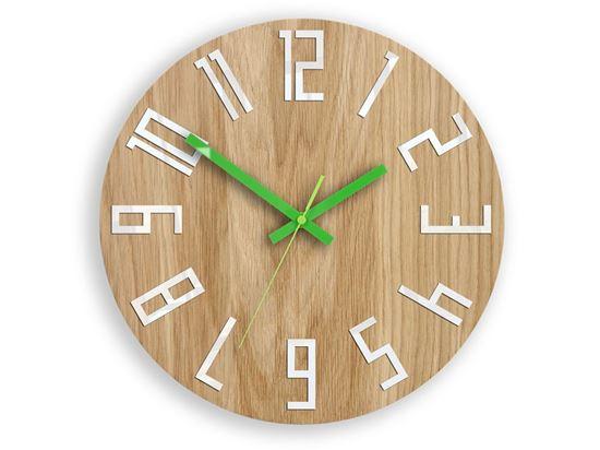 Zegar drewniany Slim Biało-Zielony