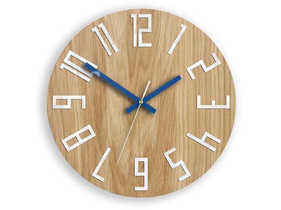 Zegar drewniany Slim Biało-Granatowy