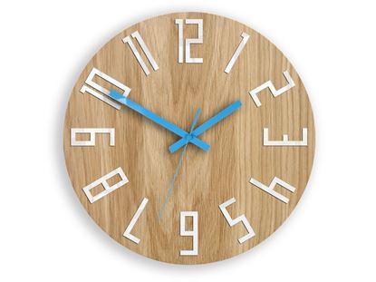 Zegar drewniany Slim Biało-Niebieski
