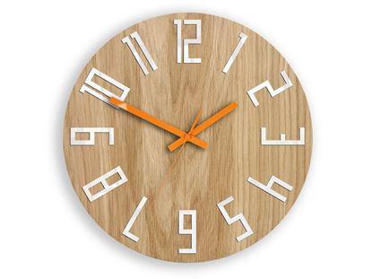 Zegar drewniany Slim Biało-Pomarańczowy
