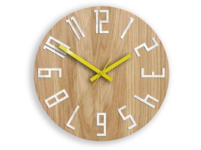 Zegar drewniany Slim Biało-Żółty